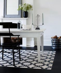 Small space solution: Designate a true dining space by placing a large area rug under the table or by tiling a specific section of the floor.
