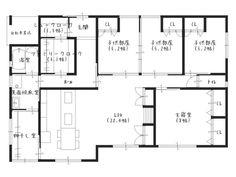 ものぐさ間取り遊び■お子さん3人の平屋 Family Closet, Japanese Style House, House By The Sea, House Plans, Interior Decorating, Floor Plans, House Design, How To Plan, Image