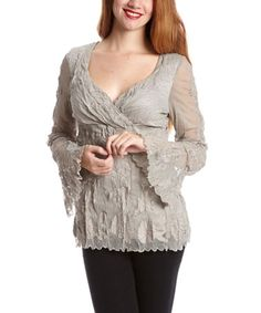 Look what I found on #zulily! Taupe Embroidered Surplice Top by Of Two Minds #zulilyfinds