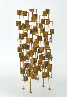 "Early Harry Bertoia ""Multi-Plane"" Sculpture, circa - The Exchange Int Modern Sculpture, Abstract Sculpture, Sculpture Art, Sculpture Garden, Harry Bertoia, 1950s Home Decor, Sculptures For Sale, Corten Steel, Screen Design"