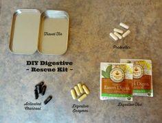 DIY Digestive Rescue Kit for Food Allergy Flare-ups -  If you have IBS or food allergies, chances are you have some tummy trouble related to your food sensitivities. I carry a digestive rescue kit with me and don't leave home without it! It can be a huge help if you inadvertently eat something that causes digestive flare-ups. Here's what my digestive rescue kit includes...