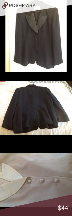 Albert Nipon women's black jacket/blazer. Size 16. Polyester and acetate black formal jacket with satin finish lapel. Three buttons in front. Fully lined. Albert Nipon Jackets & Coats Blazers