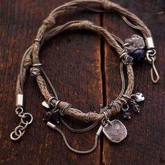 Ewa Lompe handmade jewelry flax and silver - cobalt blue ewa lompe