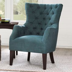 Madison Park Hannah Button Tufted Wing Back Arm Chair & Reviews | Wayfair