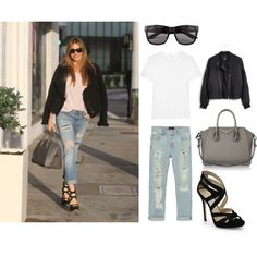 Get the Look: Sofia Vergara by stephanie-rozek-paris on Polyvore featuring polyvore, fashion, style, Yves Saint Laurent, Madewell, Zara, Jimmy Choo, Givenchy and Vero Moda