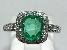 1.13 ct Columbian Emerald Solid 14Kt WG Diamond Ring Antique Cut Halo Size 6