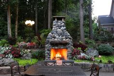 fireplaces made from river rock | Outdoor Fireplace made with Montana river rock.