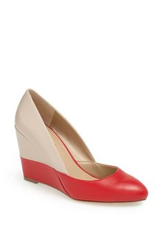 Yes to this bold red and nude wedge!