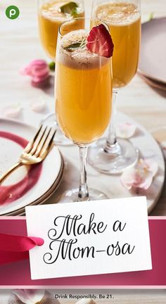 Cheers to Mom! Add some bubbly to your Mother's Day celebration and show your appreciation with a mom-osa toast. (Kids can toast with orange juice.) Our Strawberry Basil Mimosa brings a fresh twist to the classic brunch cocktail. Publix has all the ingred Refreshing Drinks, Summer Drinks, Cocktail Drinks, Fun Drinks, Cocktail Recipes, Alcoholic Drinks, Brunch Drinks, Mixed Drinks, Beverages