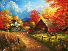 This is just the most beautiful Fall Farm Scene!I  Country Blessings by Abraham Hunter.
