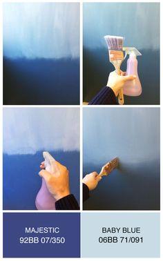 How to paint an eye catching ombre wall! - Cat satu sisi dengan warna yang lebih tua. Cat sisi lainnya dengan warna yang lebih muda. - Di pertemuan kedua warna tersebut blend menggunakan paintbrush - Ratakan blend tersebut hingga kedua warna tersebut menjadi satu