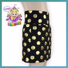 Girls gold black polka dot skirt - pencil skirt - boutique toddler - birthday