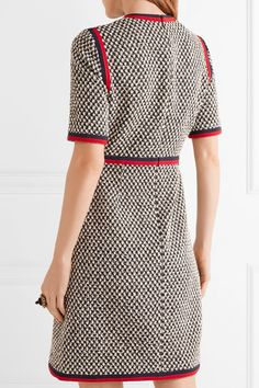 Gucci - Grosgrain-trimmed Cotton-blend Tweed Mini Dress - Black - IT46
