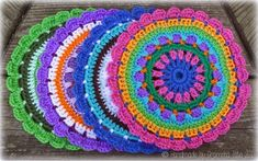 Mandalas for Marinke has received so many great crochet mandala contributions, and the deadline has been extended so even more people can participate. I suggested that people use Wink's mandala patter Appliques Au Crochet, Crochet Mandala Pattern, Granny Square Crochet Pattern, Crochet Round, Crochet Squares, Crochet Home, Crochet Yarn, Crochet Stitches, Free Crochet