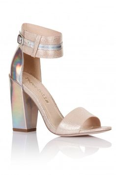 2e7db51fa28 Outlet Paper Dolls Nude Holographic Two Strap Heels
