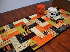 halloween quilt table runner | Quilted Halloween Table Runner, Moda Monster Bash, Scrappy, Reversible ...