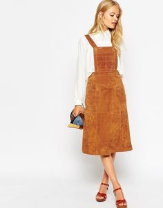 Image 4 of ASOS TALL Midi Skirt in Suede with Pinafore Bodice
