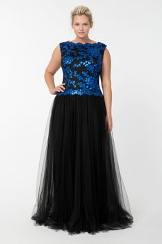 Tulle and Embroidered Lace Ball Gown in Sapphire / Black   Tadashi Shoji Fall / Holiday Plus Size Collection
