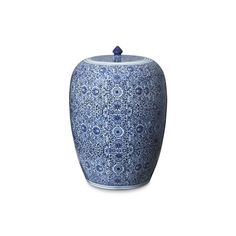 Williams-Sonoma Blue & White Floral Ginger Jar ($395) ❤ liked on Polyvore featuring home, home decor, blue and white jars, porcelain ginger jar, blue and white porcelain jars, porcelain jars and blue white ginger jar