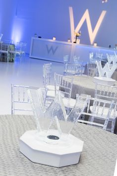 An RS Event Production.  Bar mitzvah Party with a W theme with  Ice centerpieces. rseventsdallas.com
