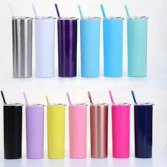 20oz skinny stainless steel double-layer vacuum stretching liner with color straw insulation Cup straight body cup Stainless Steel 304, Stainless Steel Travel Mug, Baby Shower Appetizers, Shower Tips, Shower Ideas, Free Baby Shower Printables, Tumbler With Straw, Vacuum Flask, Tumblers With Lids