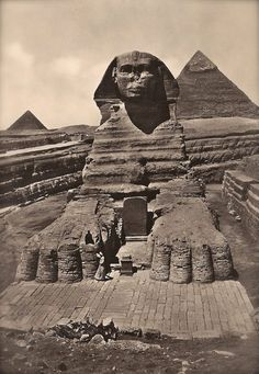 The Great Sphinx of Giza, Mysterious Guardian of The Pyramids Fine Art Photography by Lehnert & Landrock, Original 1940s Egyptian Postcard.