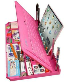 Pink keyboard desk organizer