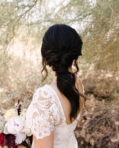 Beautiful ponytail wedding hairstyle for romantic brides - Bridal hairstyle. Get inspired by this low updo bridal hair gorgeous styles,bridal hair