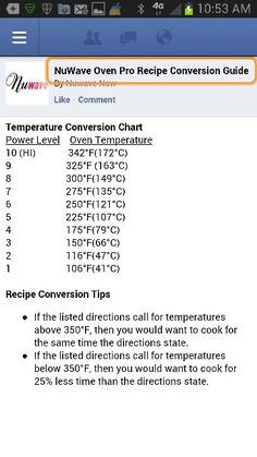 conversion chart for nuwave Halogen Oven Recipes, Nuwave Oven Recipes, Nu Wave Recipes, Nu Wave Oven, Nuwave Air Fryer, Convection Oven Cooking, Recipe Conversions, Air Fryer Recipes, Cooking Time