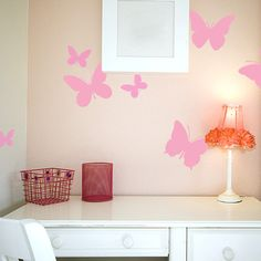 Butterfly Wall Stickers-Brandi's room on the opposite wall {good idea}