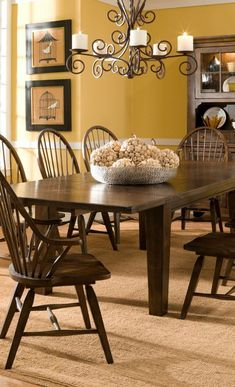 Yellow Dining Room, Area Rug Dining Room, Dining Room Storage, Dining Room Table Chairs, Dining Room Sets, Dining Room Design, Room Chairs, Dark Wood Dining Table, French Country Dining Room