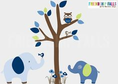 Mini Jungle Decals, Small elephant Wall Decal, Nursery Wall Decal, Elephant, Friendship Falls wall decal, Traditional Boy Scene on Etsy, $42.00