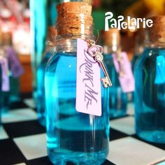 Drinks at an Alice in Wonderland birthday party! See more party ideas at CatchMyParty.com!