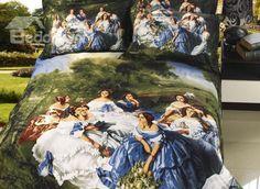 Stylish Oil Painting Print 4 Piece Whole Cotton Duvet Cover Bedding Sets - beddinginn.com