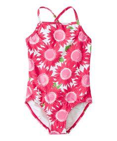 Look what I found on #zulily! Pink Floral Crossback One-Piece - Infant, Toddler & Girls #zulilyfinds