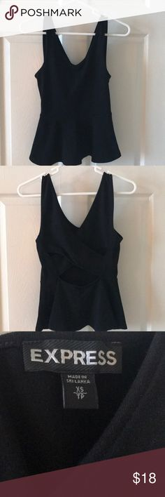 Express peplum tank Express black peplum tank top with cut out detail in the back Express Tops Tank Tops