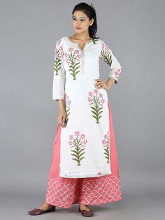 Pink Lily Cotton  Kurta With Chand Gota Palazzo - Set of 2