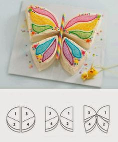 Mes petites curiositées: Kuchen in Schmetterlingsform - Kuchen Kindergeburtstag - Essen How To Make Butterfly, Butterfly Party, Butterfly Cakes, Butterfly Birthday, Butterfly Shape, Cakes And More, Party Cakes, Let Them Eat Cake, Amazing Cakes