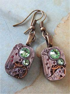 Steampunk ear gear  Peridot  Steampunk Earrings  by steampunkjunq,  #steampunk #earrings #Peridot - my birthstone!