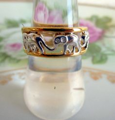 Vintage Elephant Ring Band Style Silver/Gold tone by Holliezhobbiez on Etsy