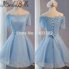 Light Sky Blue Off Shoulder Short 1950's Prom Dresses Lace Beaded Lovely Girls Homecoming Party Ball Dresses Vestidos De Baile