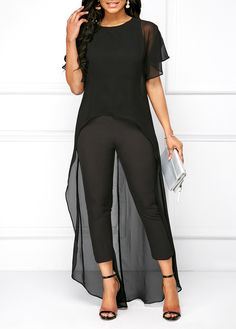 Flounce Sleeve Sheer Top And Pants Black Round Neck High Low Top and Pants Mode Outfits, Urban Outfits, Casual Dresses, Fashion Dresses, Fashion Pants, Diy Vetement, Looks Plus Size, Mode Inspiration, African Fashion