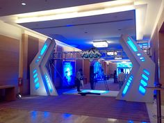 Character launch Stage Backdrop Design, Entrance Design, Entrance Gates, Gate Design, Vr Room, Glow In Dark Party, Best Home Theater, Linear Lighting, Event Branding