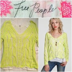 "NWT Free People Sunshine Yellow Neon Sweater SMALL B16-377-CT12 – NWT Free People Pullover Sunshine Yellow Neon SMALL $128 - Brand New with tags - Manufacturer: Free People / Manufacturer Color: Sunshine / Retail: $128.00 / Condition: New with tags / Style Type: V Neck Sweater / Sleeve Length: Long Sleeves / Neckline: V / Material: 83% Cotton/17% Acrylic / Fabric Type: Cotton / Specialty: Knit – Approx. Measurements: Length-22"" / Bust-19"" / Sleeve-30"" Free People Sweaters"