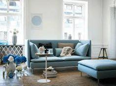 new IKEA Soderhamn sofa. Ikea is a must! Knopparp Ikea, Ikea Soderhamn, Ikea Sofas, Ikea Couch, Blue Ottoman, Ikea Furniture, Söderhamn Sofa, Ikea Living Room, Home Furniture