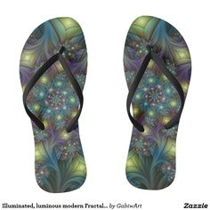 Illuminated, luminous modern Fractal Art Pattern Flip Flops