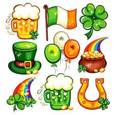 Patrick's Day icon set series by Dianka Set contains St. Patricks Day symbols icons or emblems: mug or glass of fresh Irish beer, Irish nationalflag, Leprechaun top hat, Saint Patricks Day Art, Happy St Patricks Day, St Patricks Day Clipart, Icon Set, Patrick Drawing, Sant Patrick, St Patrick Day Activities, Irish Beer, Leprechaun Hats