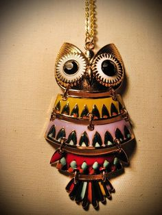 Retro Gold Owl Necklace - $22 by sheryl