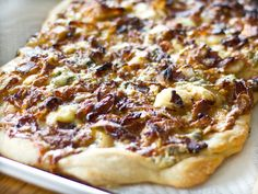 Blue Cheese Pizza with Bacon, Caramelized Onions, and Honeyed Pears