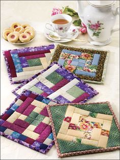 Quilting - Kitchen Patterns - Pot Holder Patterns - English Garden - Quilted Pot Holder Patterns